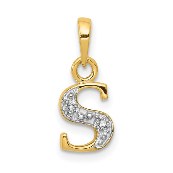 14k Yellow Gold and Rhodium Polished .01ctw Diamond Initial S Pendant