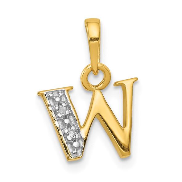 14k Yellow Gold and Rhodium Polished .01ctw Diamond Initial W Pendant