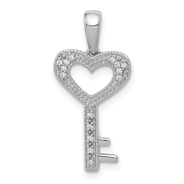 14k White Gold 1/20ctw Diamond Heart Key Pendant