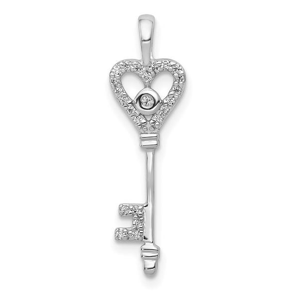 14k White Gold 1/10ctw Diamond Heart Key Pendant