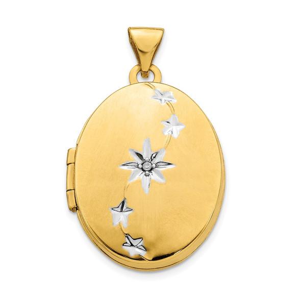 14k Yellow Gold and Rhodium Brushed / Polished Diamond Stars Oval Locket Pendant