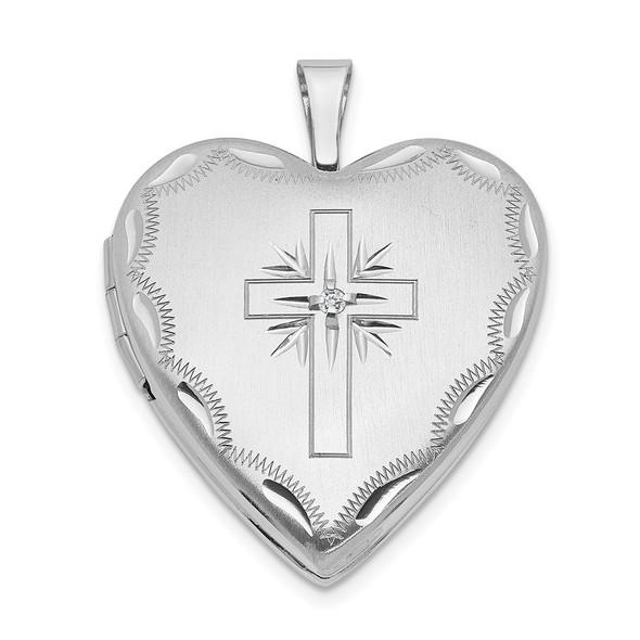 14k White Gold 20mm Diamond Set Cross Heart Locket Pendant