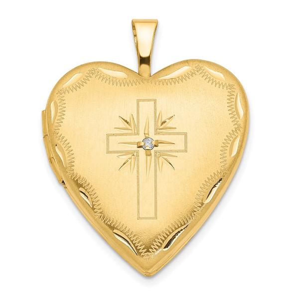 14k Yellow Gold 20mm Diamond Set Cross Heart Locket Pendant
