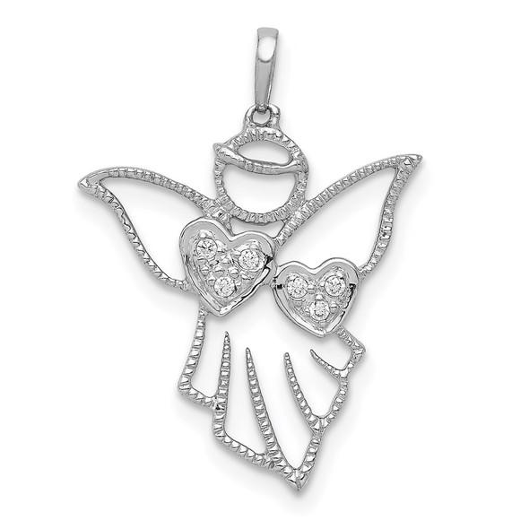 14k White Gold Diamond Angel Pendant
