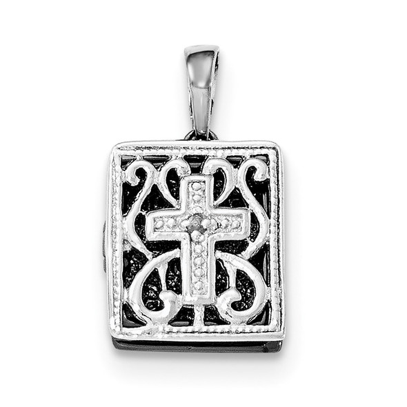 Sterling Silver Rhodium-Plated and Ruthenium Diamond 3D Bible Pendant