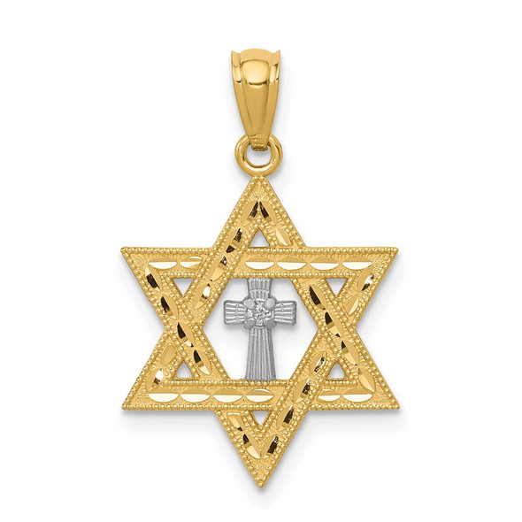 14k Yellow Gold With Rhodium Diamond Star Of David With Cross Pendant