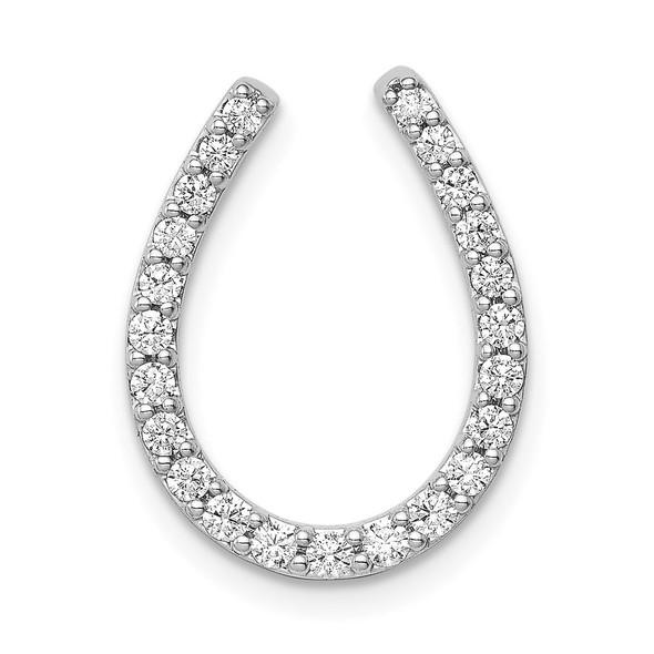 14k White Gold 1/3ctw Diamond Horseshoe Slide