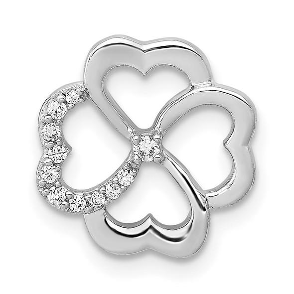 14k White Gold 1/15ctw Diamond Four Leaf Clover Slide
