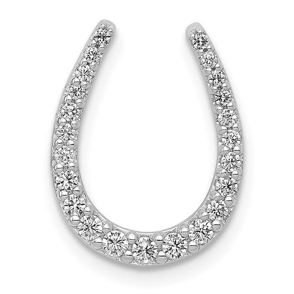 14k White Gold 1/4ctw Diamond Horseshoe Slide