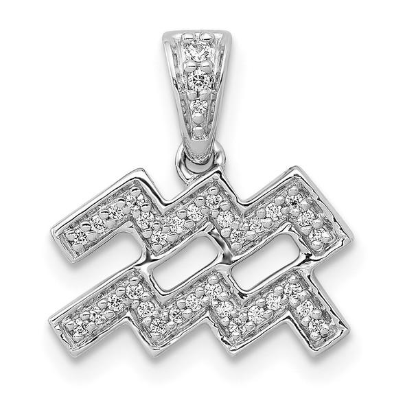 14k White Gold Diamond Aquarius Pendant