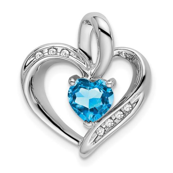 10k White Gold Blue Topaz and Diamond Heart Pendant