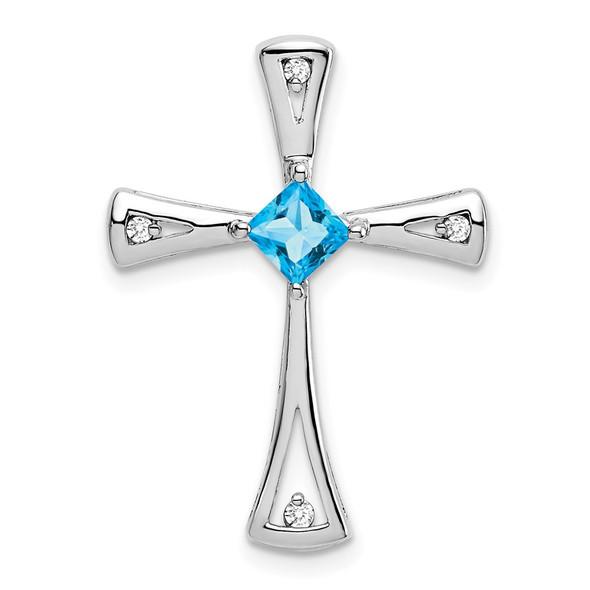 10k White Gold Blue Topaz and Diamond Cross Pendant
