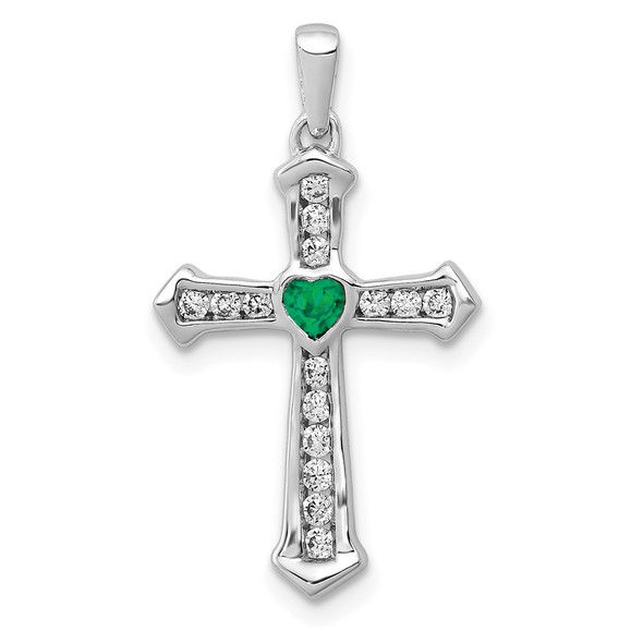 14k White Gold Created Emerald and Lab Grown Diamond SI1/SI2 GHI Cross Pendant