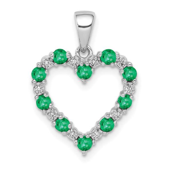 10k White Gold Diamond and Emerald Heart Pendant