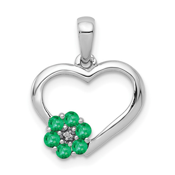 10k White Gold Diamond and Emerald Heart and Flower Pendant