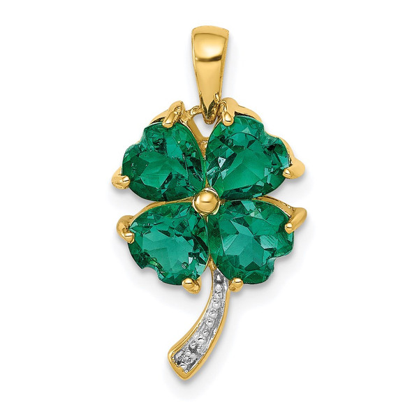 14k Yellow Gold w/ Lab-Created Emerald and Diamond Four Leaf Clover Pendant