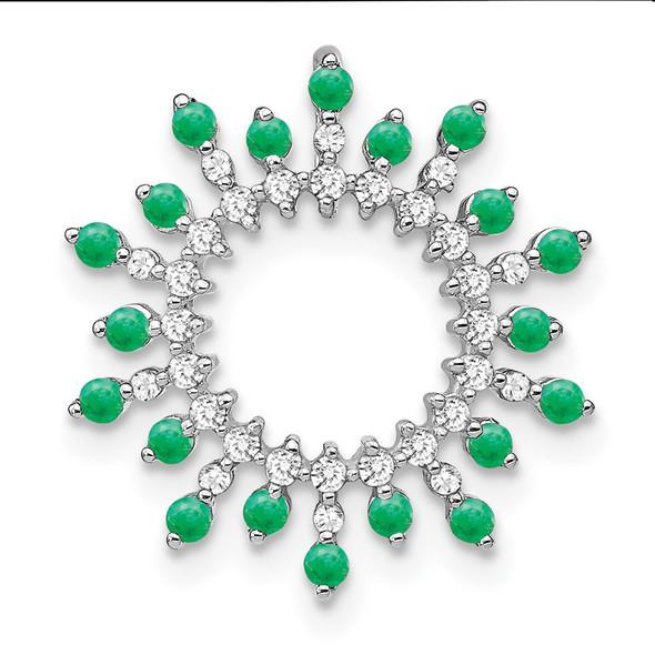 14k White Gold Emerald and Diamond Snowflake Chain Slide