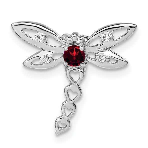 14k White Gold Garnet and Diamond Dragonfly Slide