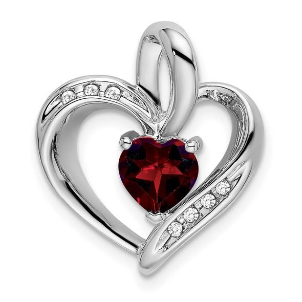 10k White Gold Garnet & Diamond Heart Pendant PM7004-GA-005-1WA