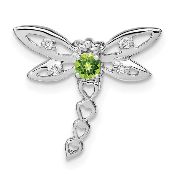 14k White Gold Peridot and Diamond Dragonfly Slide