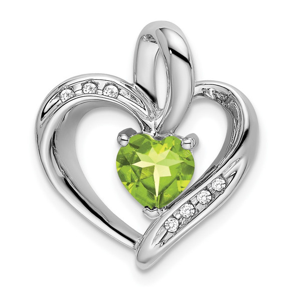 10k White Gold Peridot and Diamond Heart Pendant