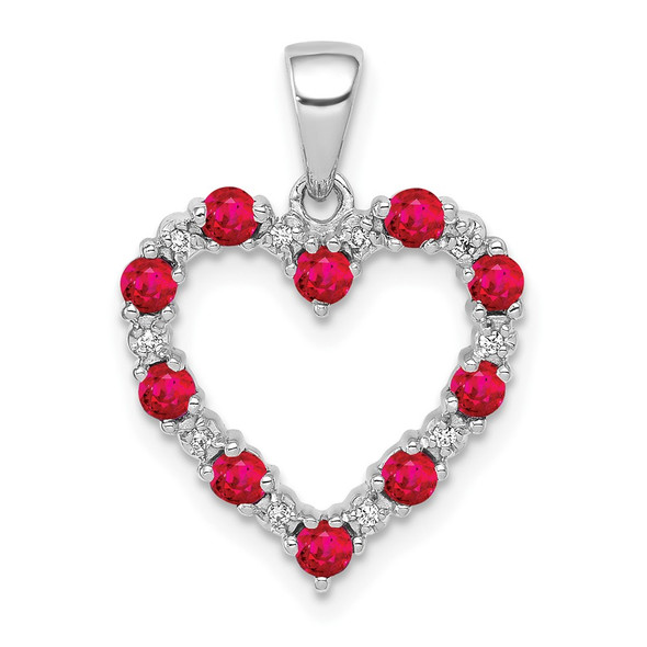 10k White Gold Diamond And .35ctw Ruby Heart Pendant