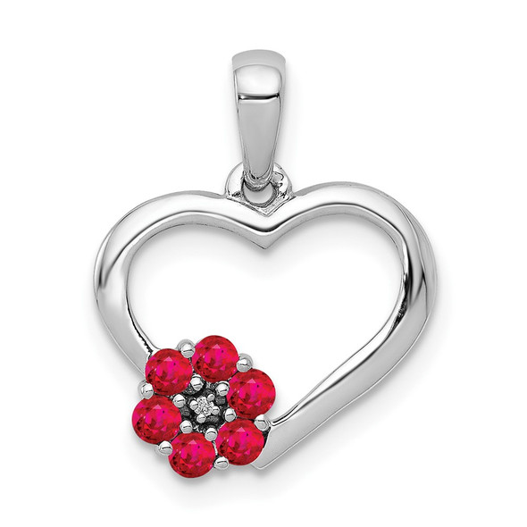 10k White Gold Diamond and Ruby Heart w/ Flower Pendant