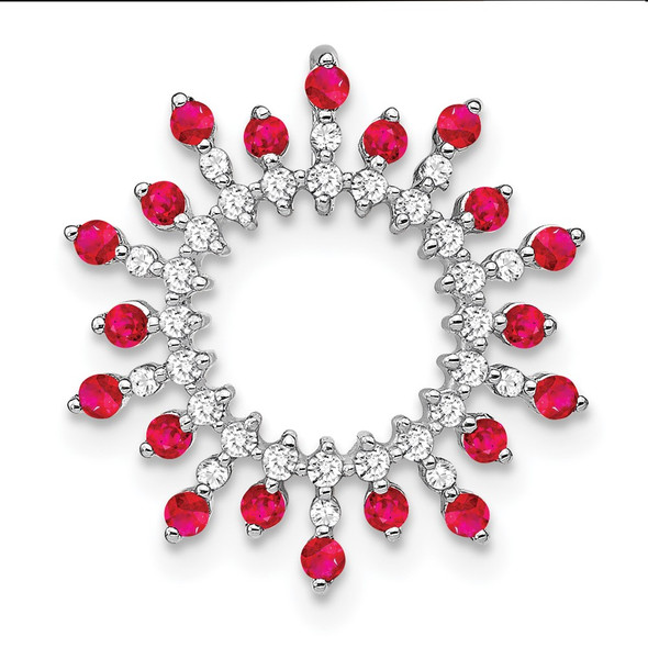 14k White Gold Ruby and Diamond Snowflake Chain Slide