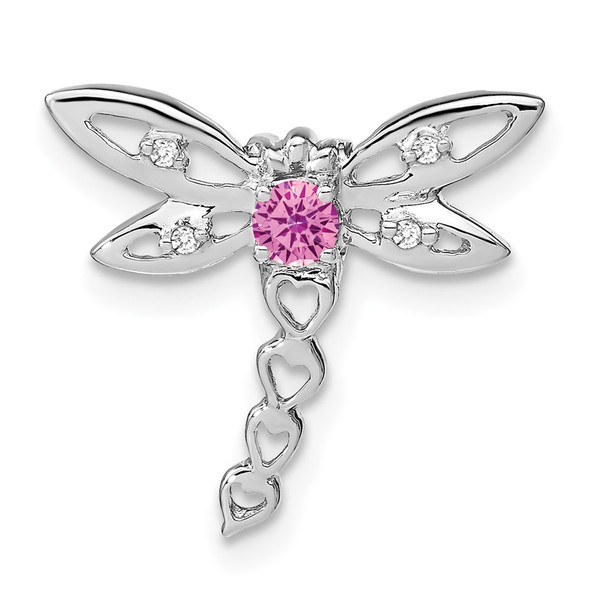 14k White Gold Lab-Created Pink Sapphire and Diamond Dragonfly Slide