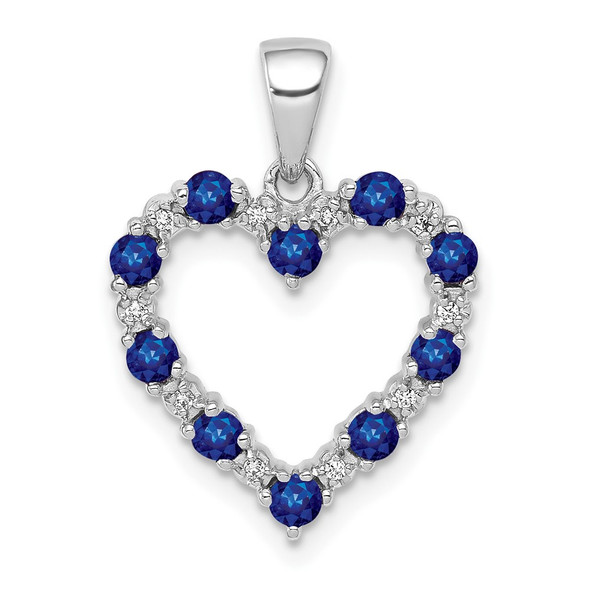 10k White Gold Diamond and Sapphire Heart Pendant