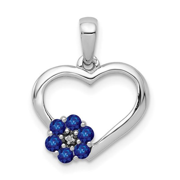 10k White Gold Diamond and Sapphire Heart w/ Flower Pendant