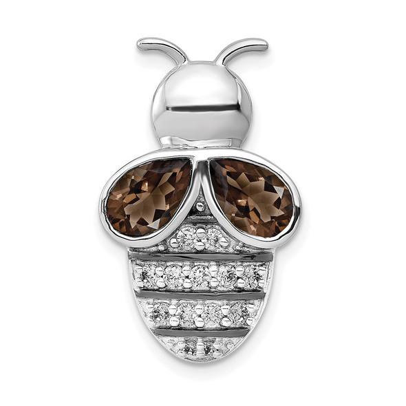 14k White Gold Diamond and 1.40ctw Smokey Quartz Bee Slide Pendant