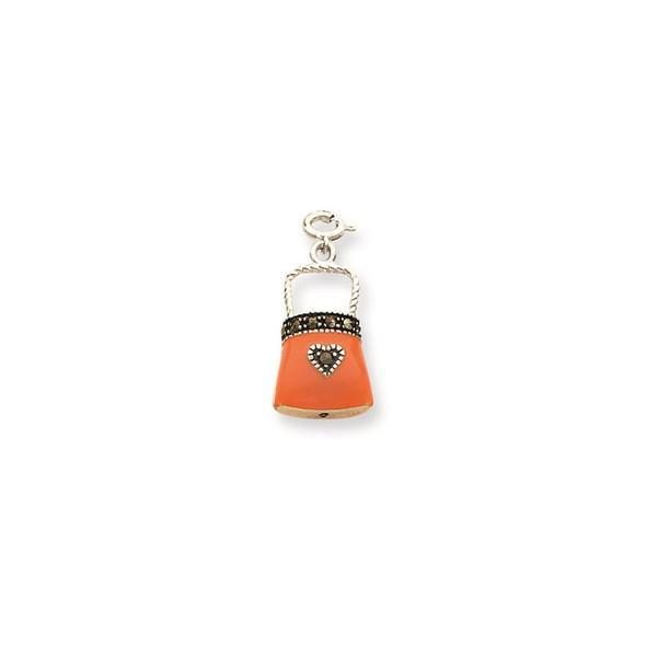 Sterling Silver Orange Enameled Marcasite Purse Charm