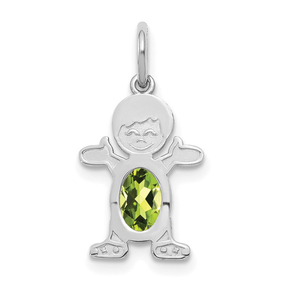 14K White Gold Boy 6x4 Oval Genuine Peridot-August Pendant