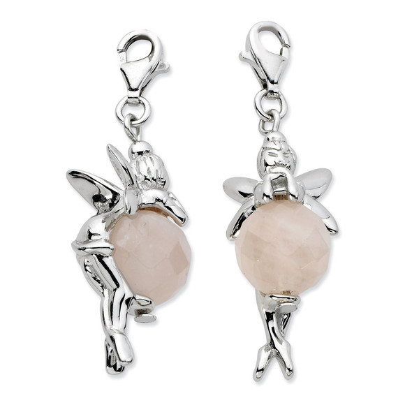 Sterling Silver Click-on Polished Fairy w/Moveable Rose Quartz Stone Charm