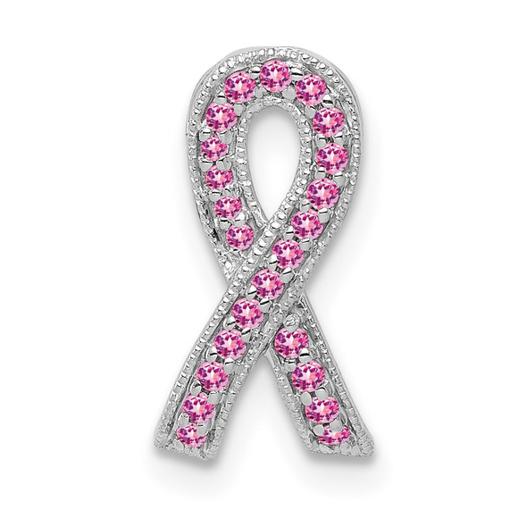 14k White Gold Pink Sapphire Awareness Ribbon Pendant