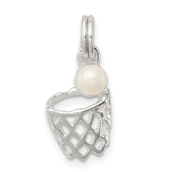 Sterling Silver Simulated Pearl Basketball In Hoop Charm
