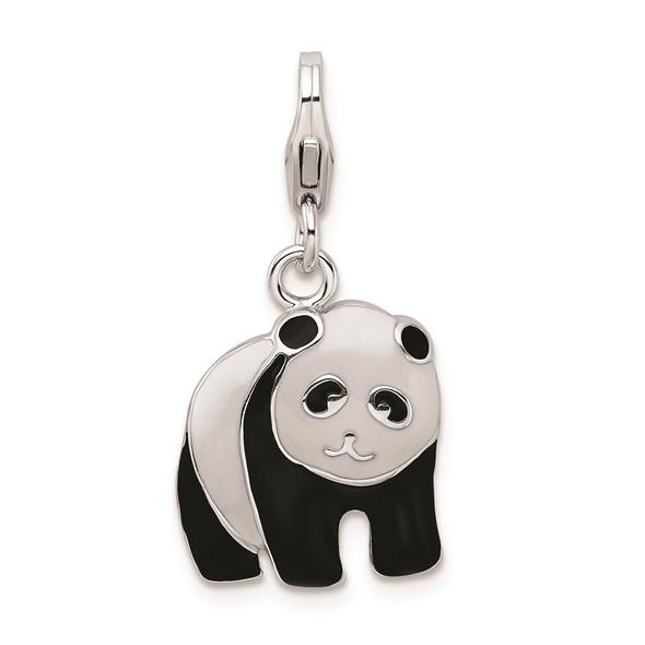 Sterling Silver Enameled Panda Bear w/Lobster Clasp Charm