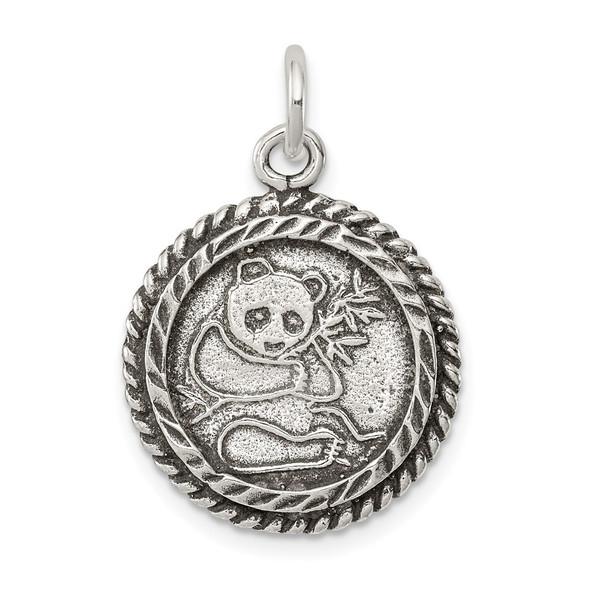 Sterling Silver Antiqued Panda Bear Charm QC7864