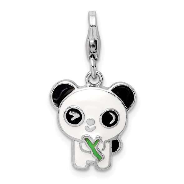 Sterling Silver Rhodium-plated Enameled Panda w/Lobster Clasp Charm