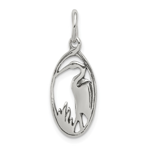 Sterling Silver Antiqued Crane In Oval Frame Charm