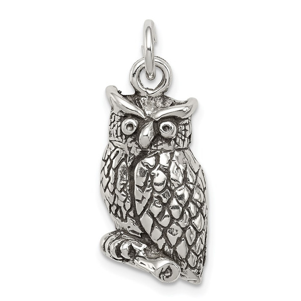 Sterling Silver Antiqued and Textured Perched Owl Charm