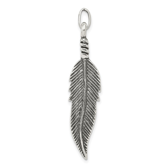 Sterling Silver Antiqued Feather Charm QC6599