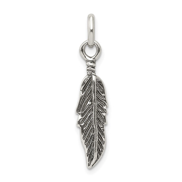 Sterling Silver Antiqued Feather Charm QC3914