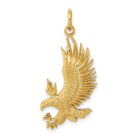 14k Yellow Gold Bald Eagle Charm