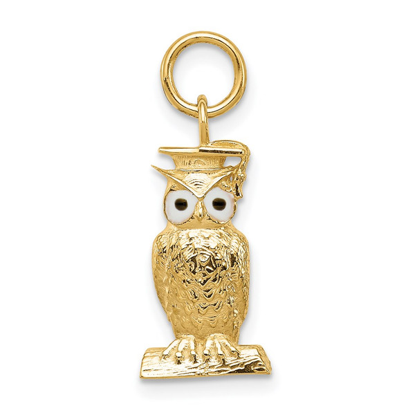 14k Yellow Gold Graduation Owl Charm w/Enamel