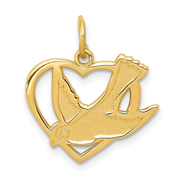 14k Yellow Gold Peace Bird Charm