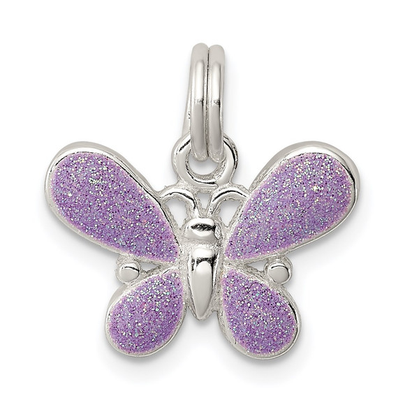 Sterling Silver Purple Enamel Polished Butterfly Charm