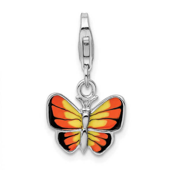 Sterling Silver and Enameled Butterfly w/ Lobster Clasp Charm
