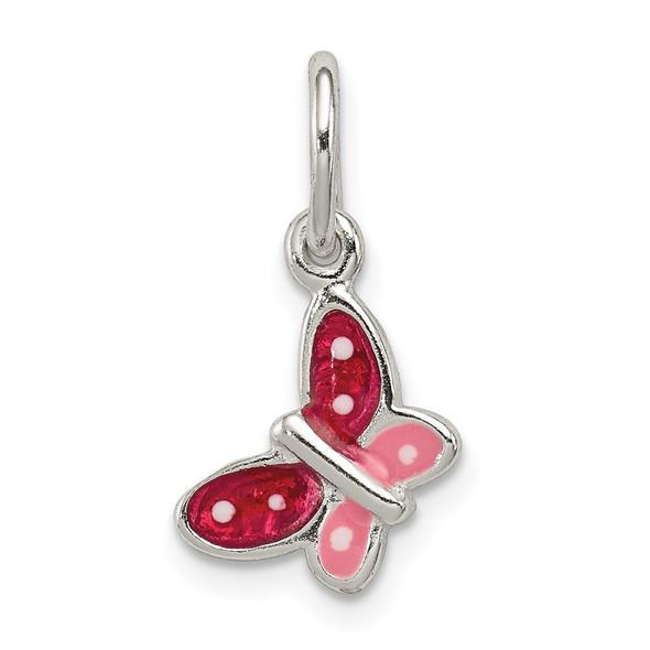 Sterling Silver Polished Enamel Butterfly Charm